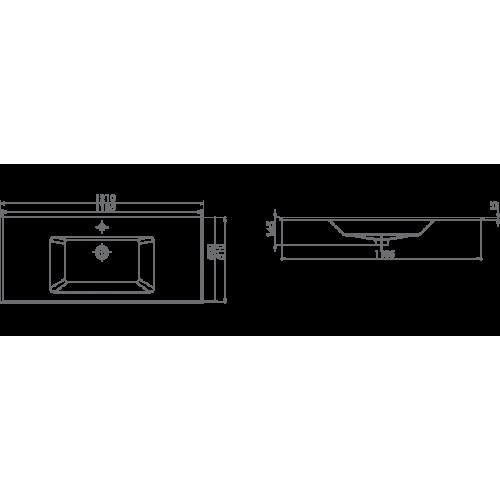 İbiza Etajerli Lavabo 121X51 cm (tek hazneli)
